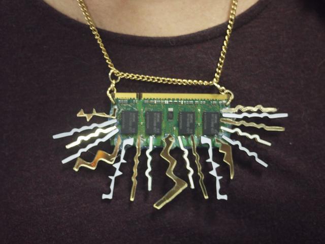 'Electronic sunburst' necklace