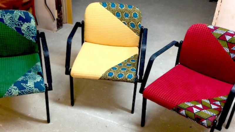 Some repaired and re-upholstered office chairs from The Remakery